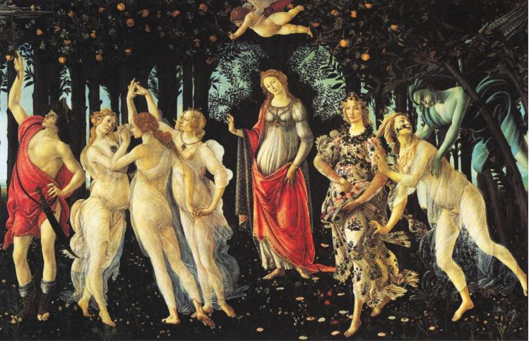 Primavera, Sandro Botticelli, 1478, tempera on panel. Source: http://www.wikipaintings.org/en/sandro-botticelli/primavera-1478