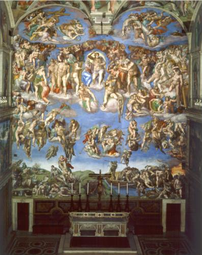 The Last Judgement, Michelangelo di Lodovico Buonarroti Simoni , Sistine Chapel, 1537-1541, fresco. Source: http://www.wikipaintings.org/en/michelangelo/the-last-judgement-1541