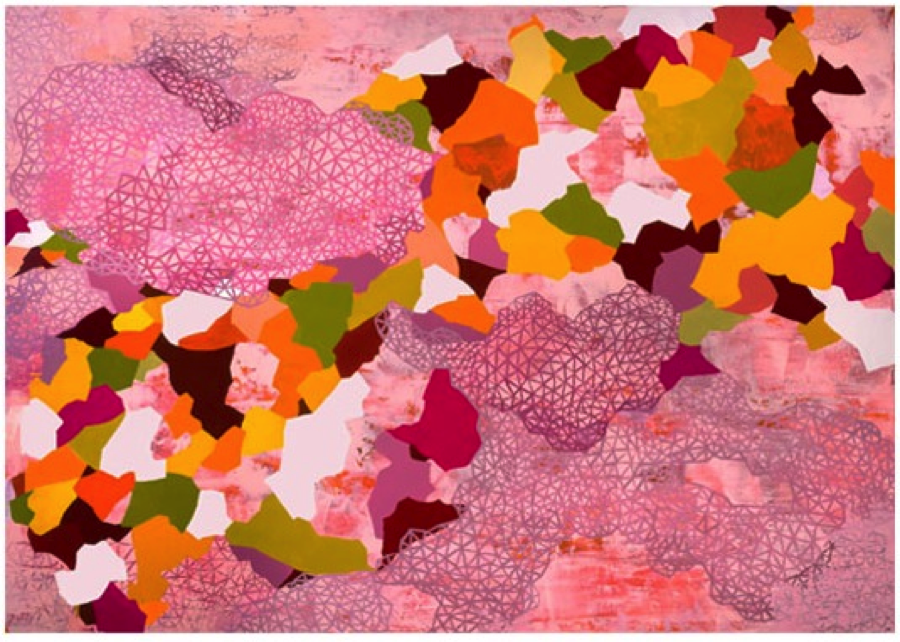 "New World, Rebecca Rutstein, 2013, acrylic on canvas, 60"" x 85"" Source: http://rebeccarutstein.com/"