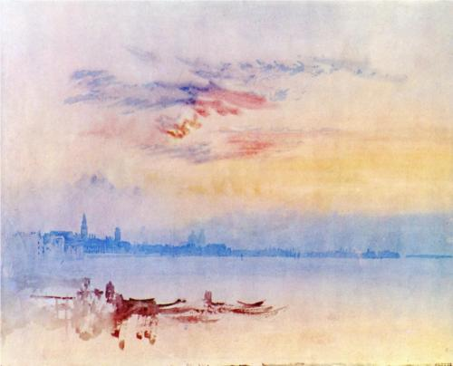 Venice, Looking East from the Guidecca, Sunrise, William Turner, 1819, watercolor on paper