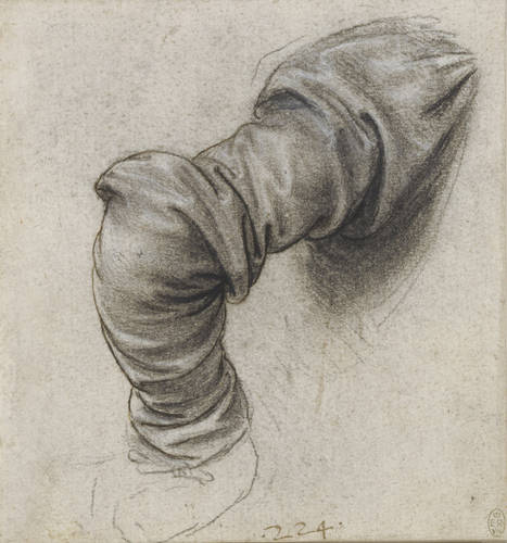 Leonardo da Vinci, Drapery Study for the Right Sleeve of Saint Peter, ca. 1493-1496