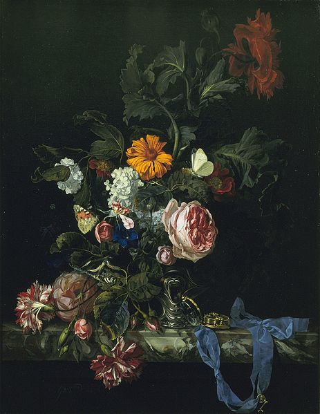 Willem van Aelst, Flower Still Life with a Watch, 1663, oil on canvas