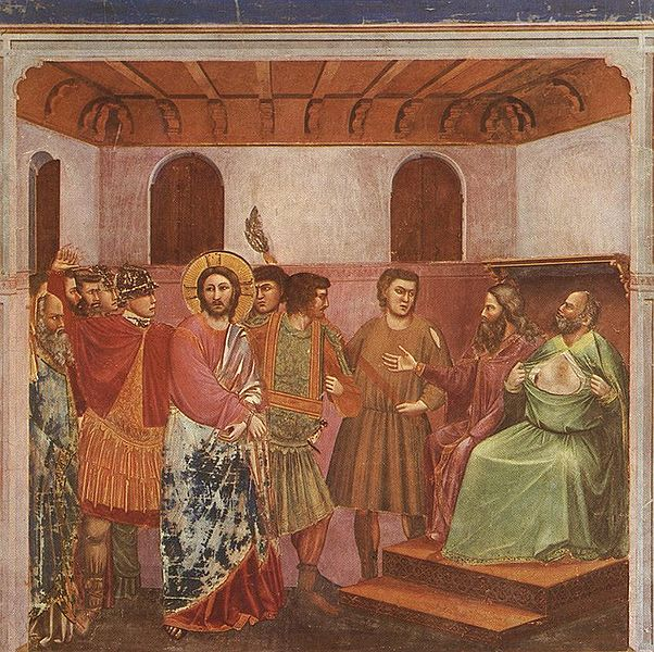 Giotto di Bondone, Christ Before Caiaphas, c. 1305, fresco