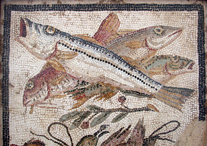 Still life mosaic from the House of the Cascades, Utica, Northern Africa.