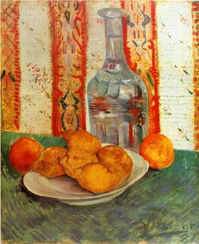 Vincent van Gogh, Still Life with Decanter and Lemons on a Plate, 1887, oil on canvas