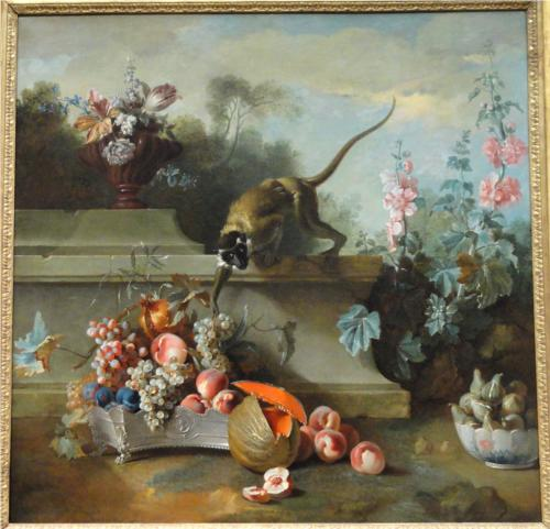 Jean-Baptiste Oudry, Still Life with Monkey, Fruits, and Flowers, 1724