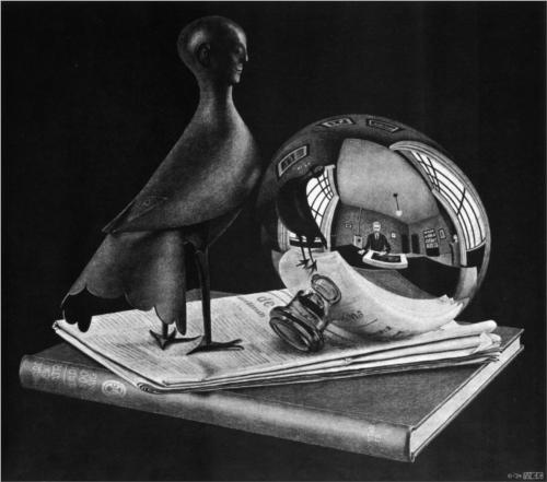 M.C. Escher, Still Life with Spherical Mirror, 1934, lithograph*