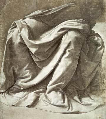 Leonardo da Vinci, Study of Drapery, oil on canvas