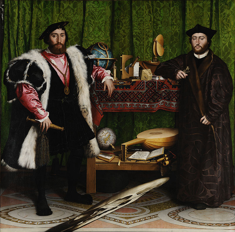 Hans Holbein the Younger, The Ambassadors, 1533, oil on oak, National Gallery, London, via Google Art Project