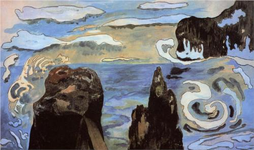 At The Black Rocks, Paul Gauguin, 1889, gouache, ink, and watercolor on paper