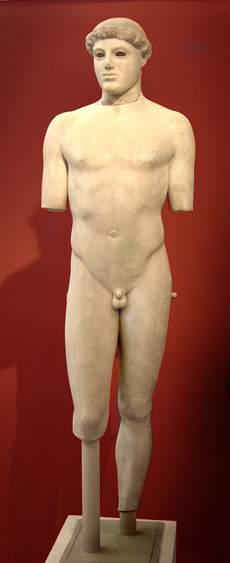 "Kritios Boy, from the Acropolis, Athens, Greece, ca. 480 BCE. Marble, approx.. 2' 10"" high. Acropolis Museum, Athens. By User:Tetraktys (Own work) [CC BY-SA 3.0 (http://creativecommons.org/licenses/by-sa/3.0) or GFDL (http://www.gnu.org/copyleft/fdl.html)], via Wikimedia Commons"