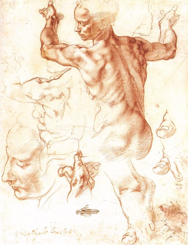 Michelangelo, Studies for the Libyan Sibyl, chalk on paper
