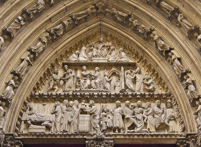 Narrative Capital Frieze. Detail: Massacre of the Innocents and Flight into Egypt. Catherdral of Notre Dame, Chartes, France. 1120-1145 C.E.