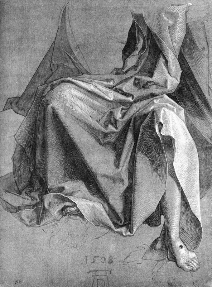 Albrecht Durer, Study of a Drapery, 1508, drawing on paper