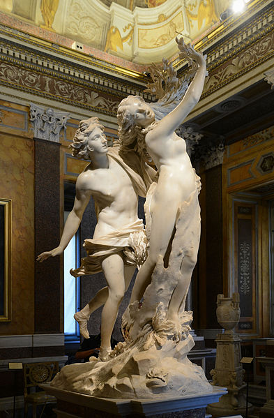Gian Lorenzo Bernini, Apollo and Daphne, marble, 1622-1625, Galleria Borghese, Rome. By Alvesgaspar (Own work) [CC BY-SA 4.0 (http://creativecommons.org/licenses/by-sa/4.0)], via Wikimedia Commons