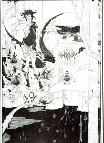 "Aubrey Beardsley, Illustration to ""Siegfried"", Act II, ink on paper, c. 1893"