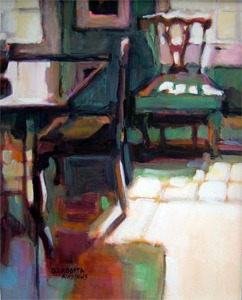 """Donna Zagotta, Chair Series Red and Green, 8"""" x 10"""", watercolor and gouache"""