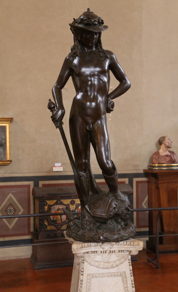 David, Donatello, 1430-1432, bronze, Bargello Palace and Museum, Florence. By Rufus46 (Own work) [CC BY-SA 3.0 (http://creativecommons.org/licenses/by-sa/3.0)], via Wikimedia Commons