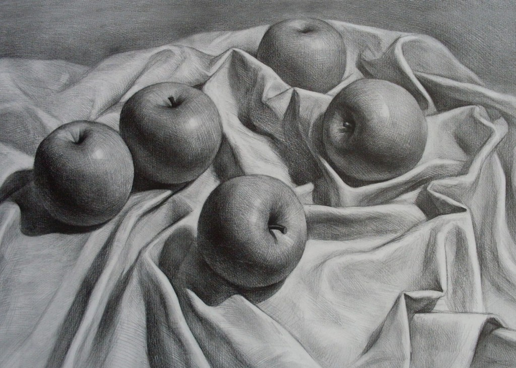 Richard Romero, Still Life Apples Drawing, date unknown, pencil on paper