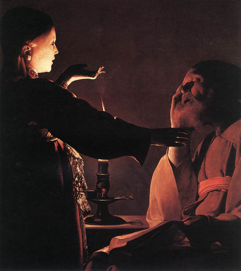 Georges de la Tour, The Angel Appears to St. Joseph in a Dream, c. 1640, oil on canvas