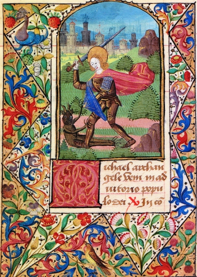 Page from a 15th century illuminated manuscript depicting Saint Michael battling a demon.