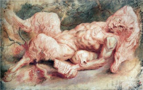 Peter Paul Rubens, Pan Reclining, c. 1610, chalk on paper