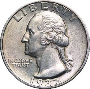 George Washington's head is in low relief on this American quarter.