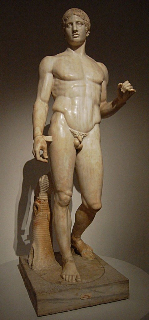 "Doryphoros (Spear Bearer), Polykleitos, Roman copy from Pompeii, Italy, after a bronze original of ca. 450-440 BCE, 6' 11"" high. Museo Nazionale, Naples. By Gautier Poupeau from Paris, France (Réplique du doryphore de Polyclète) [CC BY 2.0 (http://creativecommons.org/licenses/by/2.0)], via Wikimedia Commons"