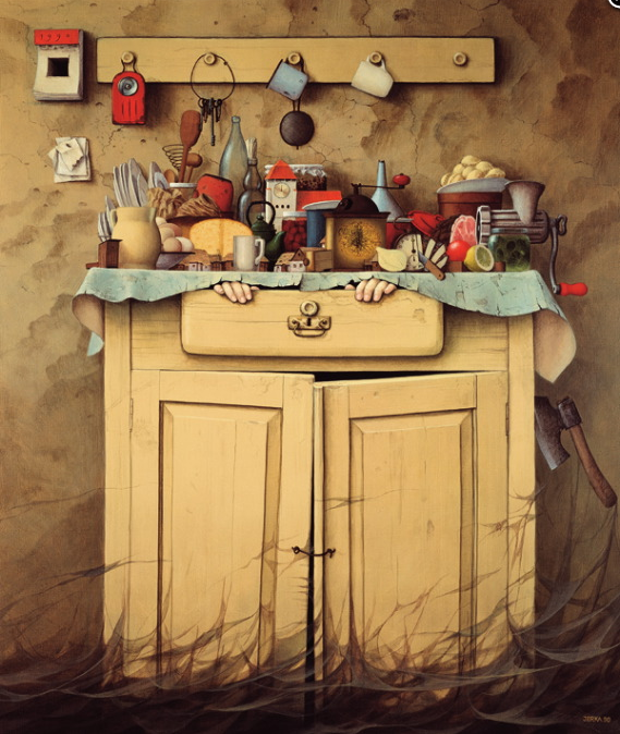 Jacek Yerka, Cupboard Sunset, 1982, acrylic on canvas