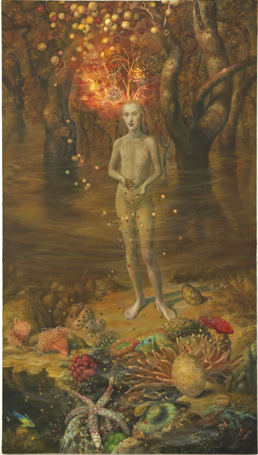 "Julie Heffernan, Self Portrait in a Coral Bed, 2011, oil on canvas, 88"" x 45"""