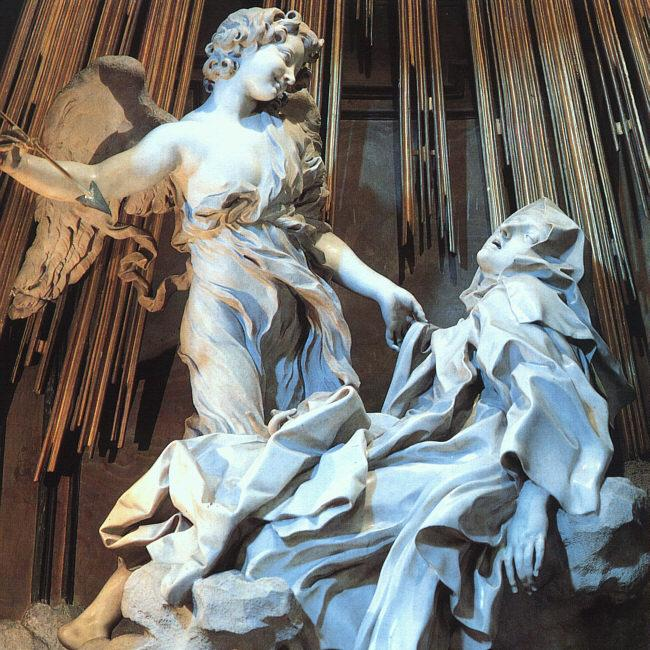 "Ecstasy of Saint Teresa, Gian Lorenzo Bernini, 1647-1652, marble, life size, Santa Maria della Vittoria, Rome. ""Teresabernini"" by Napoleon Vier - Own work. Licensed under CC BY-SA 3.0 via Wikimedia Commons - https://commons.wikimedia.org/wiki/File:Teresabernini.JPG#/media/File:Teresabernini.JPG"