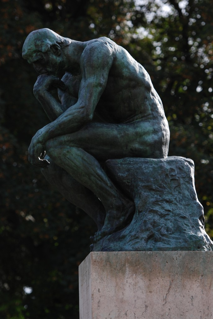 "Auguste Rodin, The Thinker, 1903, bronze, 70"" x 38"" x 57"", Museé Rodin, Paris. By Tammy Lo from New York, NY (The Thinker - Musée Rodin) [CC BY 2.0 (http://creativecommons.org/licenses/by/2.0)], via Wikimedia Commons"