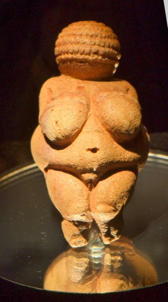 "Venus of Willendorf, Oolitic limestone, c. 28,000 B.C.E – 25,000 B.C.E., approx. 4 ¼"" high. Naturhistorisches Museum, Vienna. Photo by Matthis Kabel."