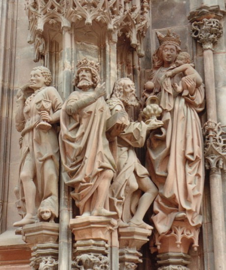Depiction of the Adoration of the Magi, sculptures of Jacques de Landshut on the Cathedral of Notre Dame in Strasbourg, 1494-1505. Photo by Rebecca Kennison