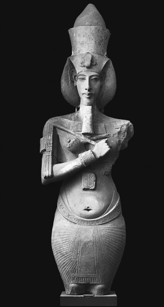 Akhenaton, from the temple of Aton, Karnak, Egypt, Dynasty XVIII, ca. 1353-1335 BCE. Sandstone, approx. 13' high. Egyptian Museum, Cairo