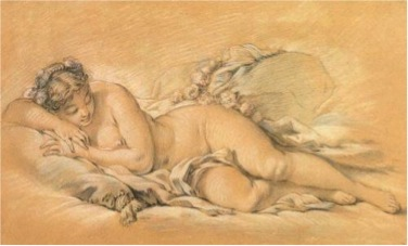 Francois Boucher, Young Woman Sleeping, c. 1760, chalk and pastel* on paper