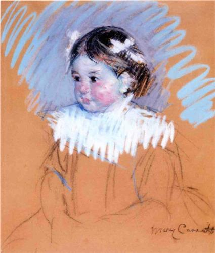 Mary Cassatt, Bust of Ellen with Bows in her Hair, c. 1898, charcoal and pastel on paper