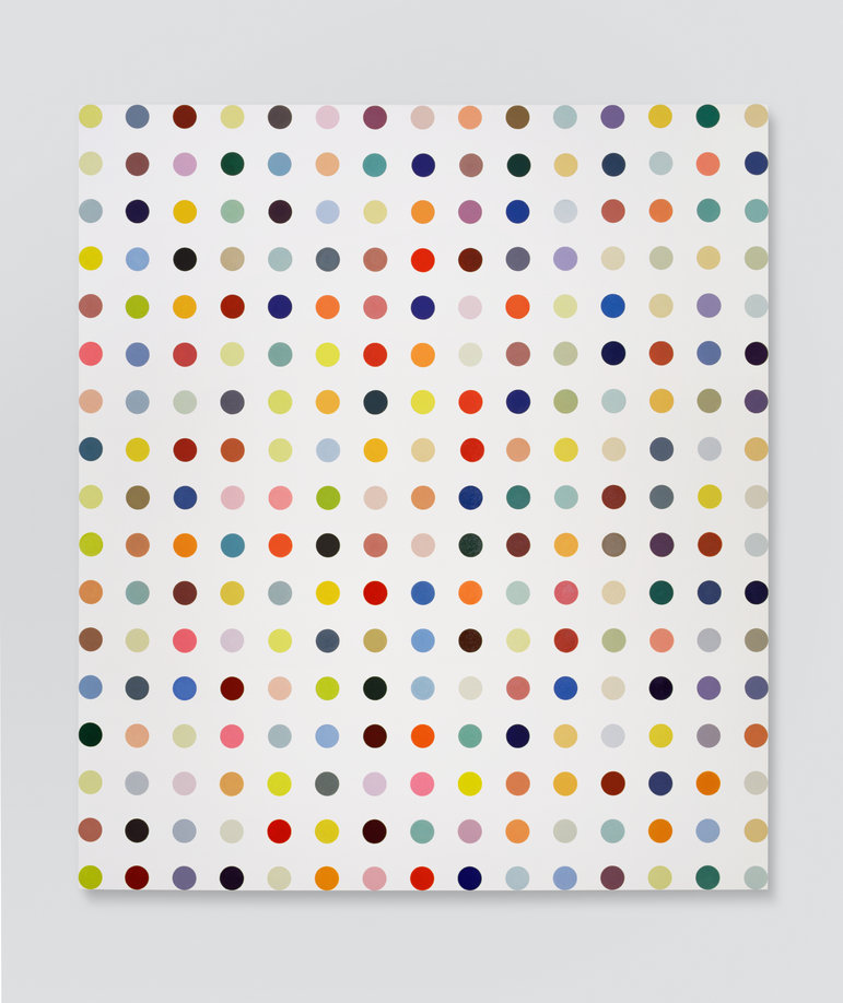 "Damien Hirst, Amylamine, 1993, latex paint on canvas, 132"" x 116.4"" (that's 11' by 9'7""!)"