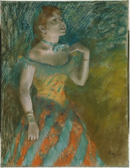 Edgar Degas, The Singer in Green, c. 1884, pastel on light blue laid paper