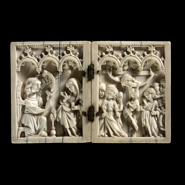 "Diptych with Scenes of the Nativity and Crucifixion, mid-14th century, ivory, 3 1/16"" x 4 7/8"", British Museum, London"