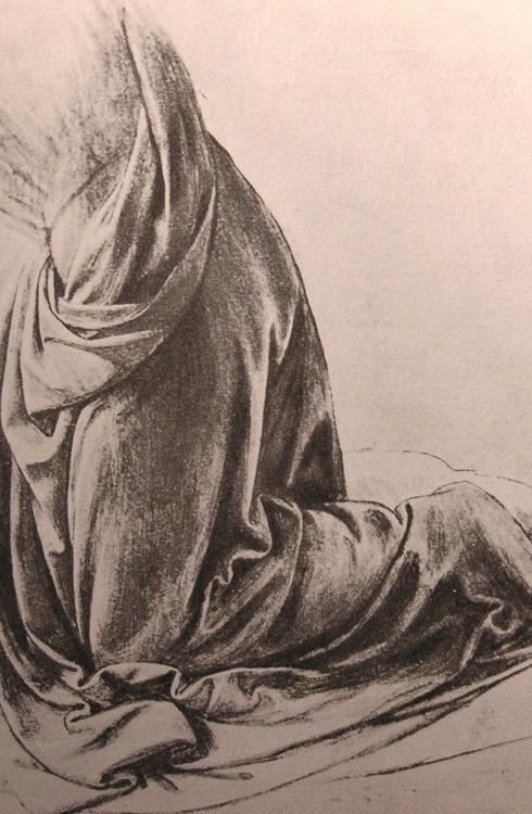 Leonardo da Vinci, Drapery Study for an Angel, ca. 1495-1498