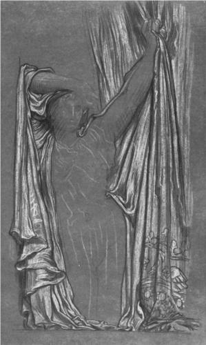 Frederic Leighton, Drapery Study* for The Last Watch of Hero, drawing on paper