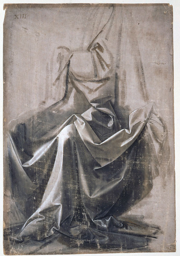 Leonardo da Vinci, Drapery Study, ca. 1470-1479, tempera on linen