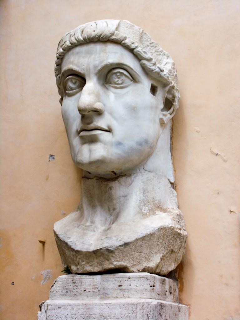 "Portrait of Constantine, from the Basilica Nova, Rome, Italy, ca. 315-330 CE. Marble, approx.. 8'6"" high. Palazzo dei Conservatori, Rome"