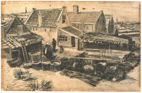 Vincent van Gogh, Fish-Drying Barn, Seen from a Height, ink and pencil on paper, 1882