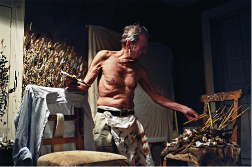 Lucian Freud in his studio in London.