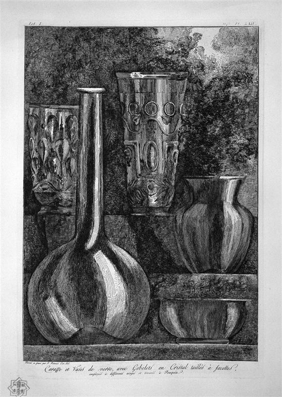 Giovanni Battista Piranesi, Bottle and Glass Vases and Crystal Faceted, Found in Pompeii, 1720-1778, etching