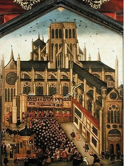 John Gipkyn, Old St. Paul's (sermon at St. Paul's Cross), 1616, oil on panel