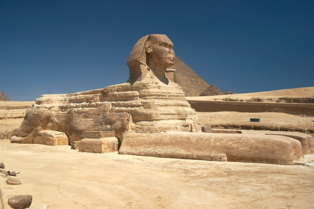 Great Sphinx, Gizeh, Egypt, Dynasty IV, ca. 2520-2494 BCE. Sandstone, approx. 65' high and 240' long