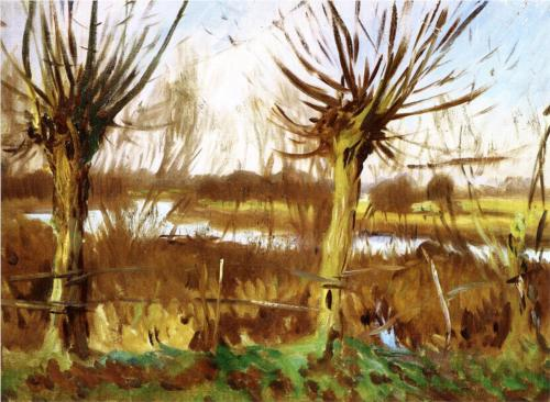 John Singer Sargent, Landscape with Trees, Calcot-on-the-Thames, c. 1888, oil on canvas
